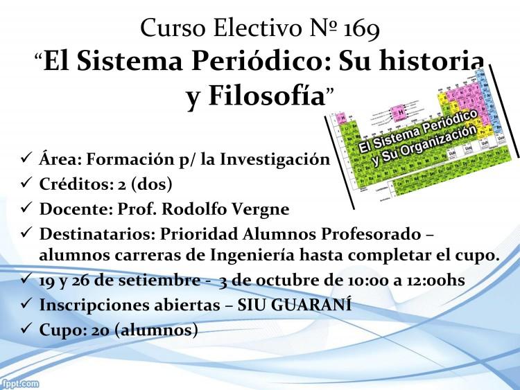 """Curso Electivo Nº 169 - """"El Sistema Periódico: Su Historia y Filosofía"""""""