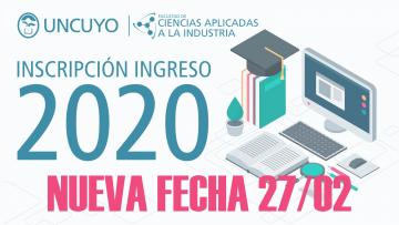 Nueva fecha Inscripción ingreso 2020