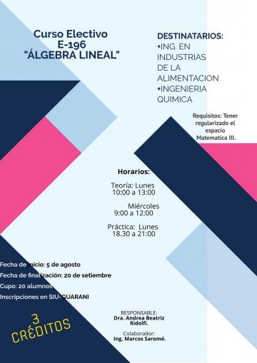"Electiva E196 ""Algebra Lineal"""