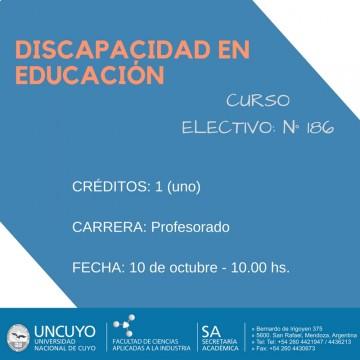 """Electiva N° 186 """"Discapacidad en educación"""""""
