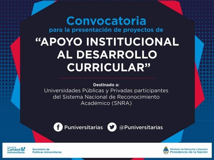 Convocatoria Apoyo institucional al Desarrollo Curricular