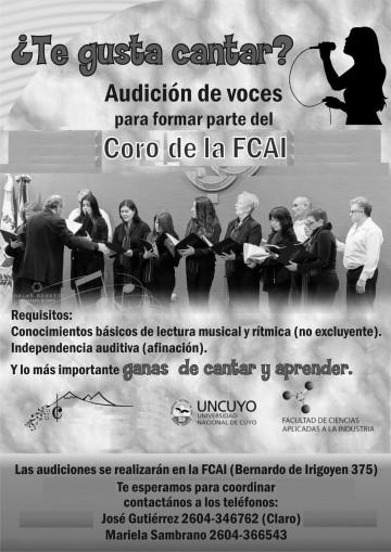 Audición de voces para el Coro de la FCAI