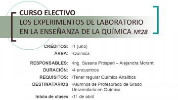 Curso Electivo: Los Experimentos de Laboratorio en la Enseñanza de la Química Nº 28
