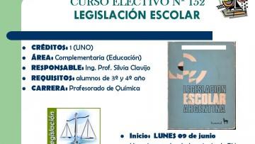 CURSO ELECTIVO Nº 152  LEGISLACIÓN ESCOLAR