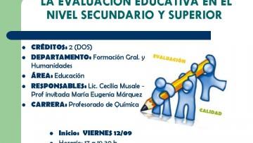CURSO ELECTIVO Nº 154  LA EVALUACIÓN EDUCATIVA EN EL NIVEL SECUNDARIO Y SUPERIOR
