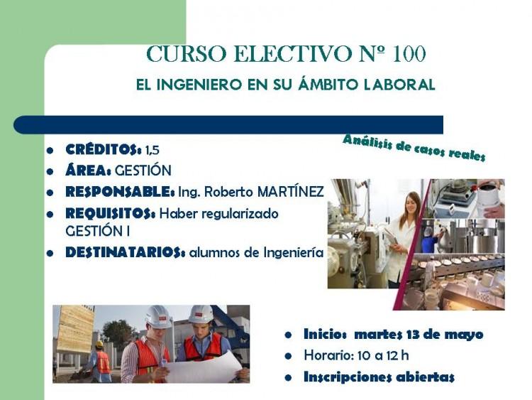 CURSO ELECTIVO Nº 100 EL INGENIERO EN SU ÁMBITO LABORAL