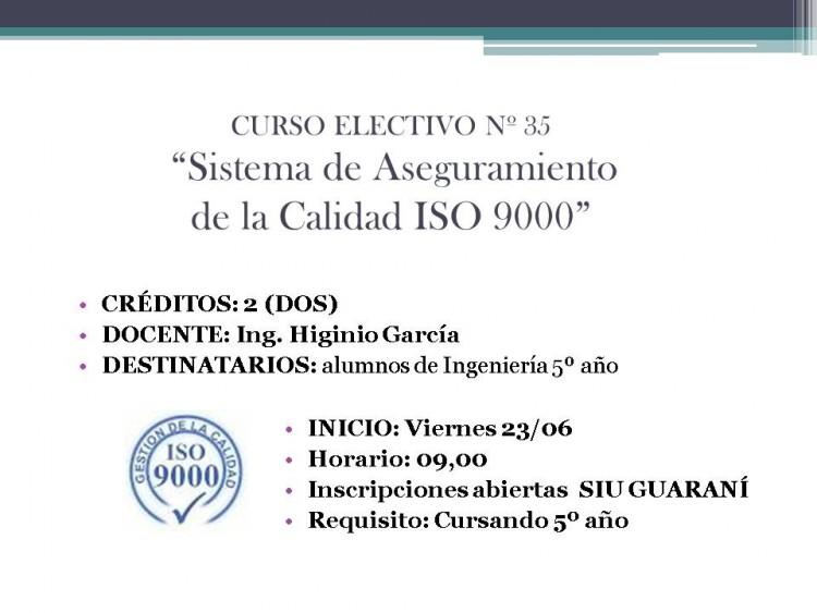 Electiva N° 35 \Sistema de Aseguramiento de la Calidad ISO 9000\