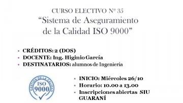 """Curso Electivo Nº 35 - """"Sistema de Aseguramiento de la Calidad ISO 9000"""""""
