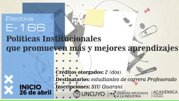 Electiva E-166 Políticas Institucionales que promueven más y mejores aprendizajes