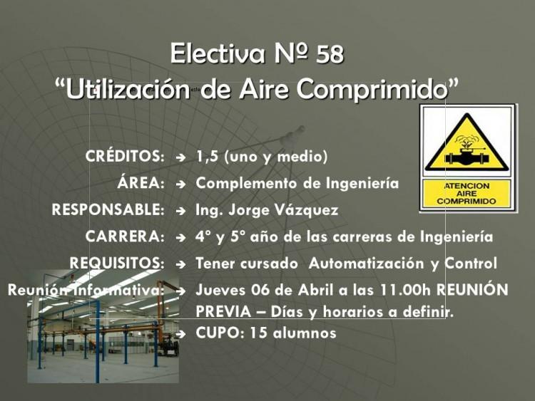 """Electiva N° 58 """"Utilización de aire comprimido"""""""