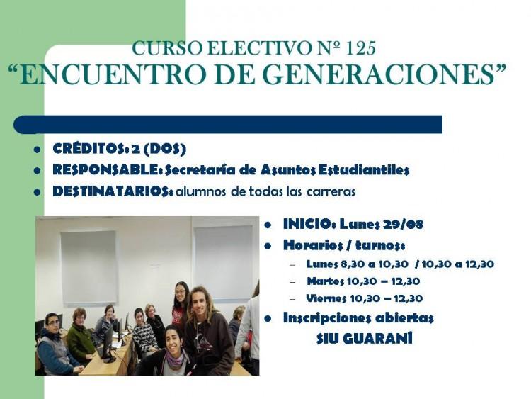 """Curso Electivo N º 125 Proyecto Encuentro de Generaciones"""""""