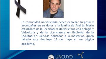 Dolor en la comunidad educativa por el fallecimiento de Andres Marín