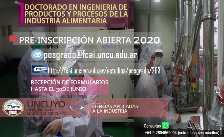 Pre-inscripción Doctorado en Ingeniería de Productos y Procesos de la Industria Alimentaria