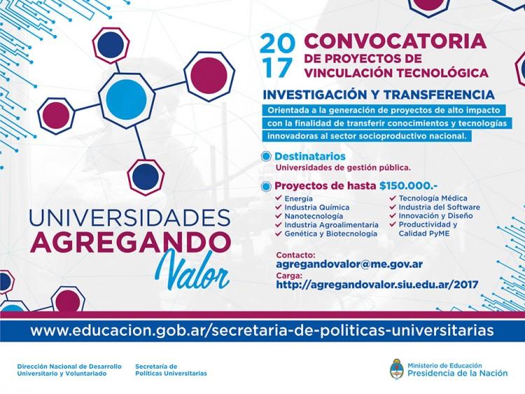 Abrió la convocatoria Universidades Agregando Valor - 2017