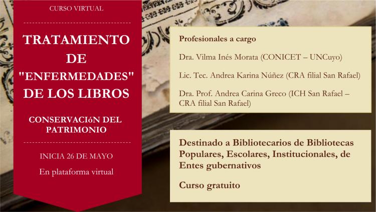 """Curso virtual: Tratamiento de """"enfermedades"""" de los libros; Conservación del Patrimonio"""