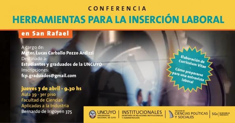 """El jueves 7 de abril se realizará una conferencia sobre """"Herramientas para la Inserción Laboral"""""""