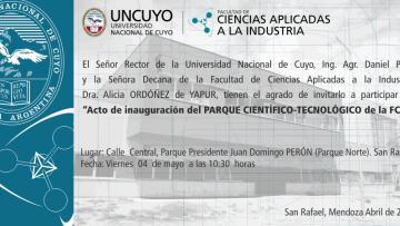 Invitación Inauguración Parque Científico-Tecnológico de la FCAI - UNCUYO