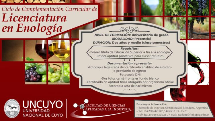 Abierta la inscripción gratuita para el Ciclo de Complementación Licenciatura en Enología