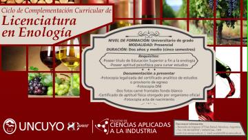 Licenciatura en Enología, abre la inscripción para el ciclo 2019