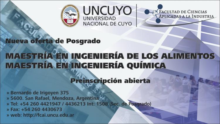 Preinscripciones para las Maestrías en Ingeniería de los Alimentos e Ingeniería Química