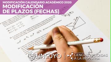 Modificaciones al calendario académico 2020 (modificación de fechas)