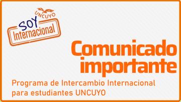 Se pospone la convocatoria al programa de intercambio para estudiantes UNCUYO