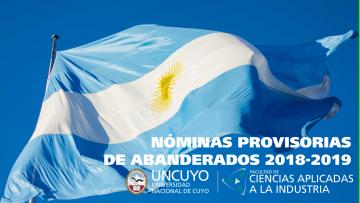 Nómina provisoria de los nuevos abanderados y escoltas de las Banderas Nacional y Provincial
