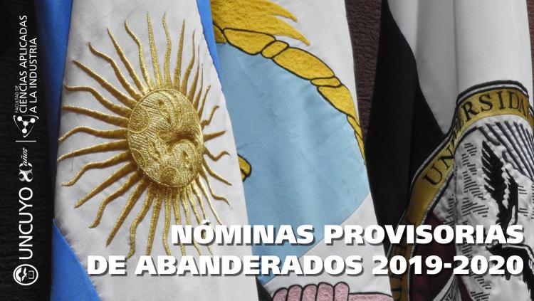 Nómina provisoria de los nuevos abanderados y escoltas de las Banderas Nacional y Provincial para el periodo 2019/2020