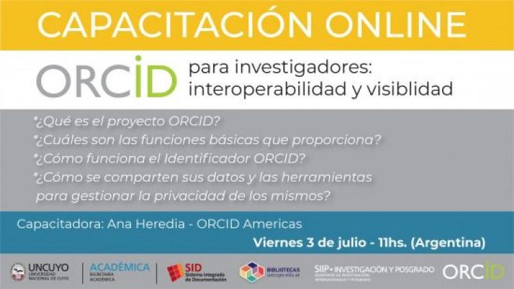 """Capacitación online """"ORCID para investigadores: interoperabilidad y visibilidad"""""""
