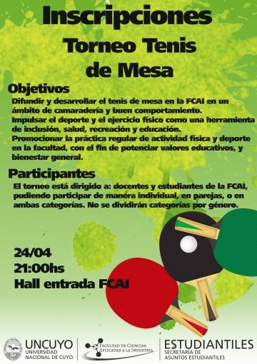 Torneo de Tenis de Mesa en la FCAI
