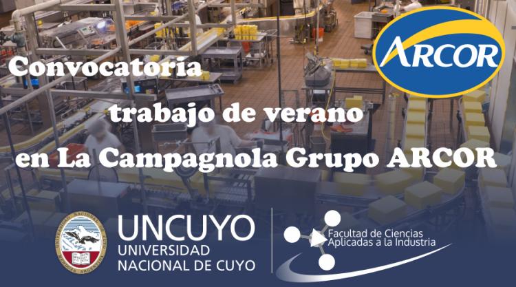 Convocatoria para realizar pasantías en La Campagnola Grupo ARCOR - Planta San Rafael