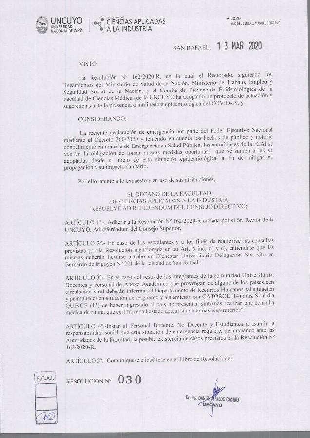Res. N° 30-2020 Decano (Ad referéndum C.D.)