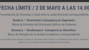 Elecciones 2018: Presentación de fórmulas y listas ante la Junta Electoral correspondiente