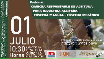 Webinar: Cosecha responsable de aceituna para industria aceitera. Cosecha Manual - Cosecha Mecánica.