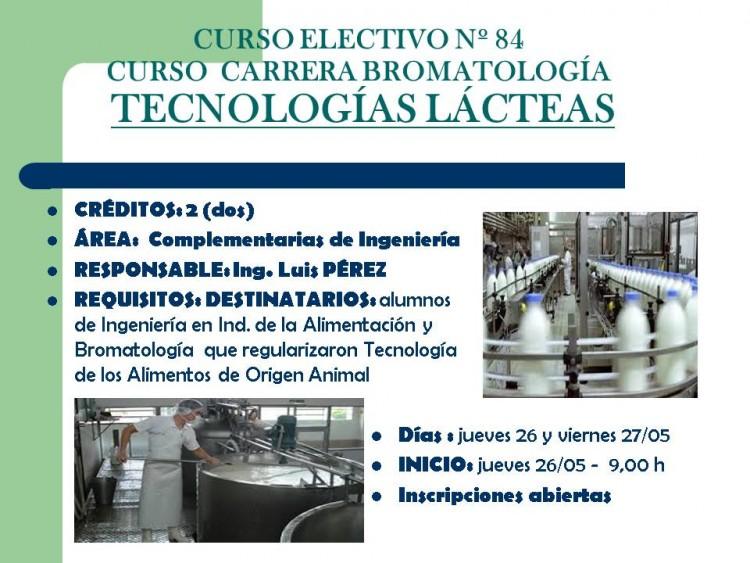 Curso electivo Nº 84 - Carrera Bromatología - Tecnología Lácteas