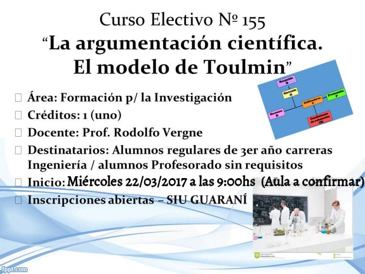 Electiva Nº 155 \La argumentación científica. El modelo de Toulmin\