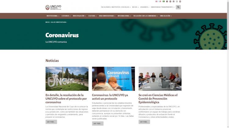 La UNCUYO comunica sobre el CORONAVIRUS.