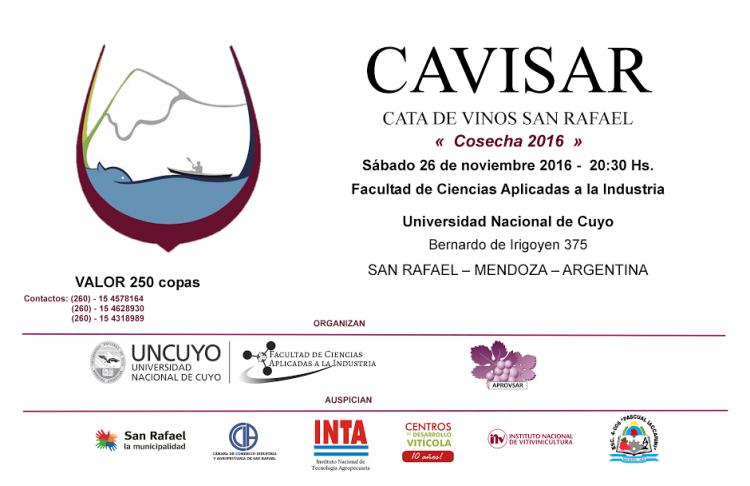 Se realizará una nueva edición de CAVISAR Cata de vinos - San Rafael, cosecha 2016