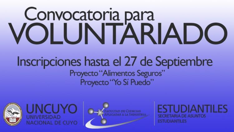 Se abre la convocatoria para Voluntariado en proyectos de la Secretaría de Asuntos Estudiantiles FCAI