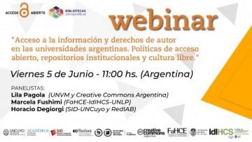 """Webinar """"Acceso a la información y derechos de autor en las universidades argentinas"""""""
