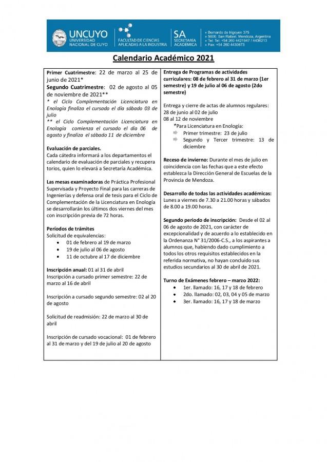 Calendario académico 2021 Pág. 1