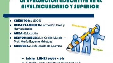 """Electiva Nº 154 """"La evaluación educativa en el nivel secundario y en el nivel superior"""""""