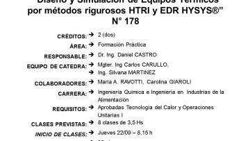 """Curso Electivo Nº 178 - """"Diseño y Simulación de Equipos Térmicos por métodos rigurosos HTRI y EDR HYSYS®"""