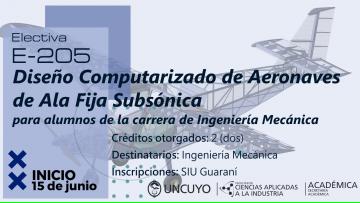 E205 - Diseño Computarizado de Aeronaves de Ala Fija Subsónica para alumnos de la carrera de Ingeniería Mecánica
