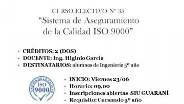"""Electiva N° 35 """"Sistema de Aseguramiento de la Calidad ISO 9000"""""""