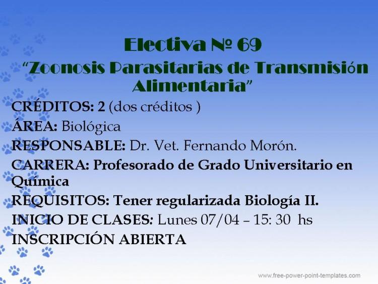 """Curso Electivo Nº 69  """"Zoonosis Parasitarias de Transmisión Alimentaria"""""""