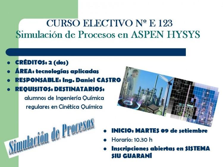 CURSO ELECTIVO Simulación de Procesos en ASPEN HYSYS