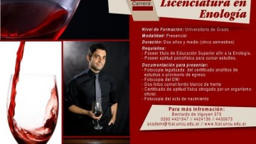 Preinscripciones para la carrera de Licenciatura en Enología Año 2016