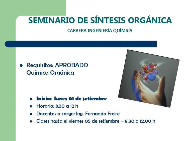 Seminario de Síntesis Orgánica - Ingeniería Química